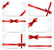 Gift Card Set with Red Ribbon and Bow. Vector Royalty Free Stock Image