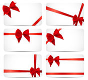 Gift Card Set with Red Ribbon and Bow. Vector illustration. EPS10 Stock Images