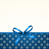Gift  Card with Shiny Blue Satin Gift Bow Stock Image