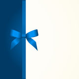 Gift  Card with Shiny Blue Satin Gift Bow Close up Stock Images