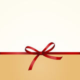 Gift  Card with Shiny Red Satin Gift Bow Close up Stock Photos