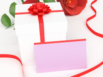 Gift Card Shows Presents Rose And Petal Stock Photo