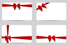 Gift Card Template Collection Set with Silk Red Ribbon and Bow. Stock Image