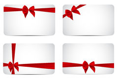 Gift Card Template Collection Set with Silk Red Ribbon and Bow. Royalty Free Stock Image