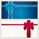 Gift Voucher / coupon template. Bow (ribbons) Stock Photos
