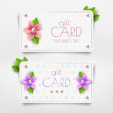 Gift card. Template with flower, pearl. Vector discount card Stock Images