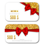 Gift Card Template with Golden Dust Texture and Black Bow Ribbon Stock Photo