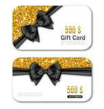 Gift Card Template with Golden Dust Texture and Black Bow Ribbon Stock Photography