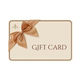 Gift card template with golden ribbon and a bow Royalty Free Stock Photos