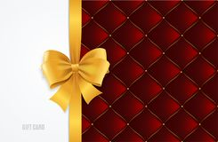 Gift Card Template, Silk Ribbon Bow And Quilted Background. Vector Stock Photography