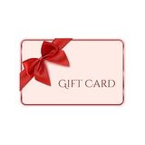 Gift card template with red ribbon and a bow Royalty Free Stock Images