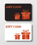 Gift card templates with abstract polygonal boxes. Design gift card. Templates  of black and white, with two bronze abstract polygonal boxes. Vector illustration Royalty Free Stock Photography