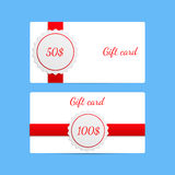 Gift card templates with amount of discount with red ribbons. Stock Photo