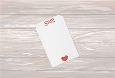 Gift card tied with a red heart. Vector. Valentine`s Day. On woo. Den background Greeting card for the holiday Royalty Free Stock Photos