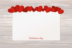 Gift card tied with a red heart. Vector. Valentine`s Day. On woo. Den background Greeting card for the holiday Stock Image