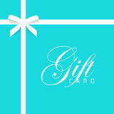 Gift card vector illustration on blue, bow with white ribbon Stock Photos