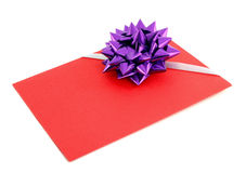 Gift card with violet ribbin bow Royalty Free Stock Image