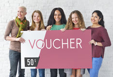 Gift Card Voucher Coupon Graphic Concept. Diverse women gift card voucher coupon Royalty Free Stock Photography