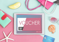 Gift Card Voucher Coupon Graphic Concept. Gift Sale Voucher Coupon  Concept Stock Photo