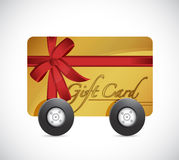 Gift card and wheels. illustration design Royalty Free Stock Photography