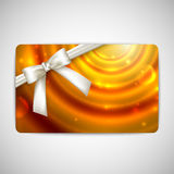 Gift card with white bow and ribbon Royalty Free Stock Image