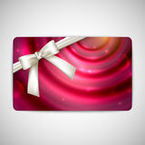 Gift card with white bow and ribbon Royalty Free Stock Photo