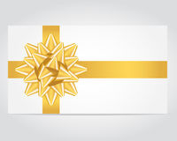 Gift Card With Gold Ribbon. Stock Photography