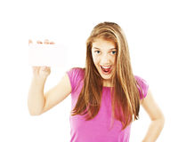 Gift card woman excited Royalty Free Stock Image