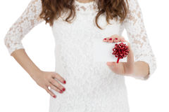 Gift card woman Stock Images