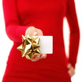 Gift card - woman showing sign Stock Photo