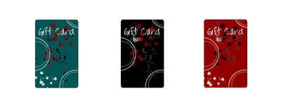 Gift Card2. Three color variations on a modern style gift card drawn in Illustrator CS2 Stock Images