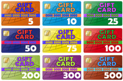 Gift cards. Set gift card color icons Stock Photography