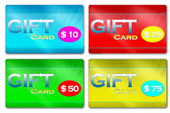 Gift Cards. An illustration for a generic gift card in dollar value Stock Photo