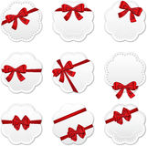 Gift cards. With red ribbons and bows for celebrations. Vector illustration Stock Photography