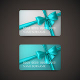 Gift Cards With Azure Bow And Ribbon. Stock Photography