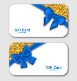 Gift Cards with Blue Bow Ribbon and Golden. Illustration Gift Cards with Blue Bow Ribbon and Golden Surface. Template for Holiday Cards, Invitations, Discount Royalty Free Stock Photo