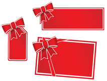 Gift cards with bows and ribbons Stock Photos