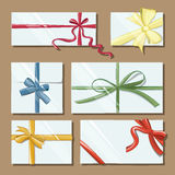 Gift cards with bows vector set Royalty Free Stock Images
