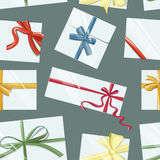 Gift cards with bows vector set pattern Royalty Free Stock Images