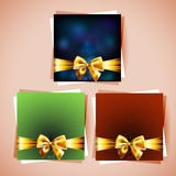 Gift cards. Collection of gift cards and invitations with ribbons Stock Image