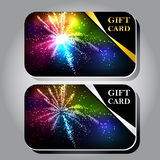 Gift cards. Collection of gift cards with ribbons. Vector background Stock Photography
