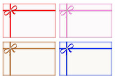 Gift Cards with Colored Ribbons, Note Card, Set royalty free illustration