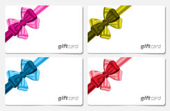 Gift cards. With colorful ribbon bows. Vector illustration Royalty Free Stock Image