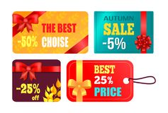 Gift Cards Design with Decorative Bow Best Product. Gift cards design with decorative bows, best product certificates, autumn 2017 choice posters with percent Stock Images