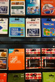 Gift Cards. For different stores, on sale. Americans spend more than 100 billion dollars a year on Stock Images