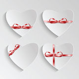 Gift cards in the form of heart for Valentine's day.Set of backg. Rounds with pink ribbon for February 14 Vector Illustration
