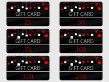 Gift cards with hanging gift boxes. Red and black color. Vector. Illustration Stock Photo