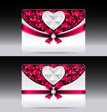 Gift cards with heart geometric pattern red bow ri. Bbon silver color Stock Photos
