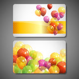 Gift cards with multicolored balloons Stock Photography