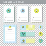 Gift cards. Note paper, Notes, to do list. Organizer planner marks Stock Photography